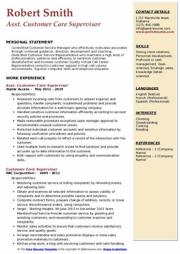 Asst. Customer Care Supervisor Resume Model