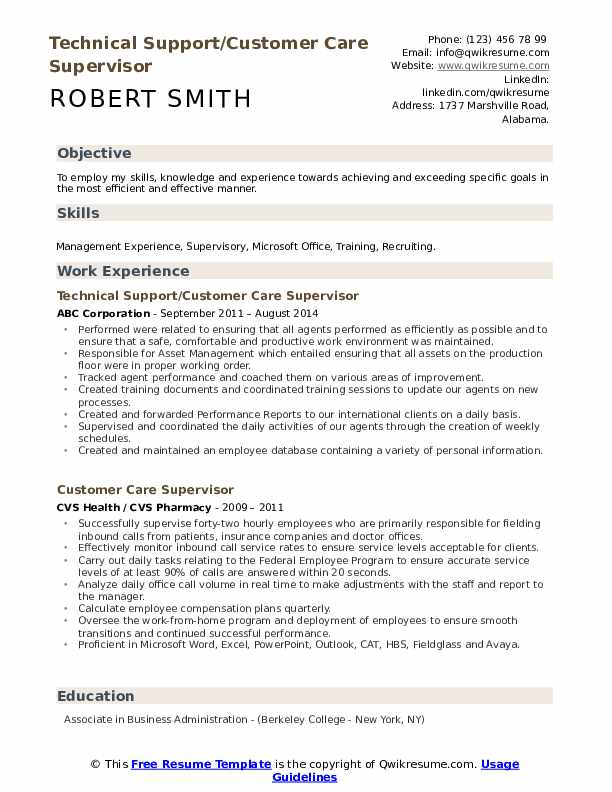 Technical Support/Customer Care Supervisor Resume Format