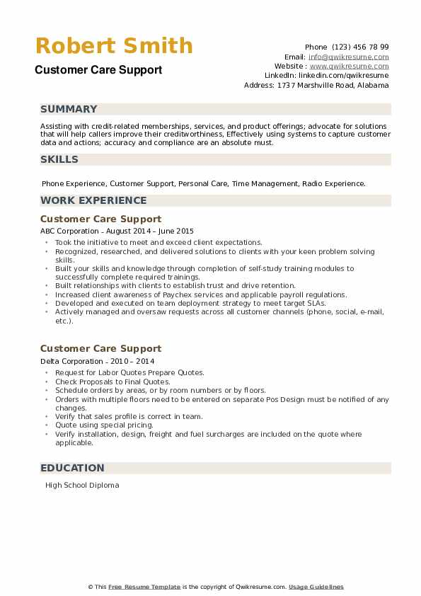 Customer Care Support Resume example