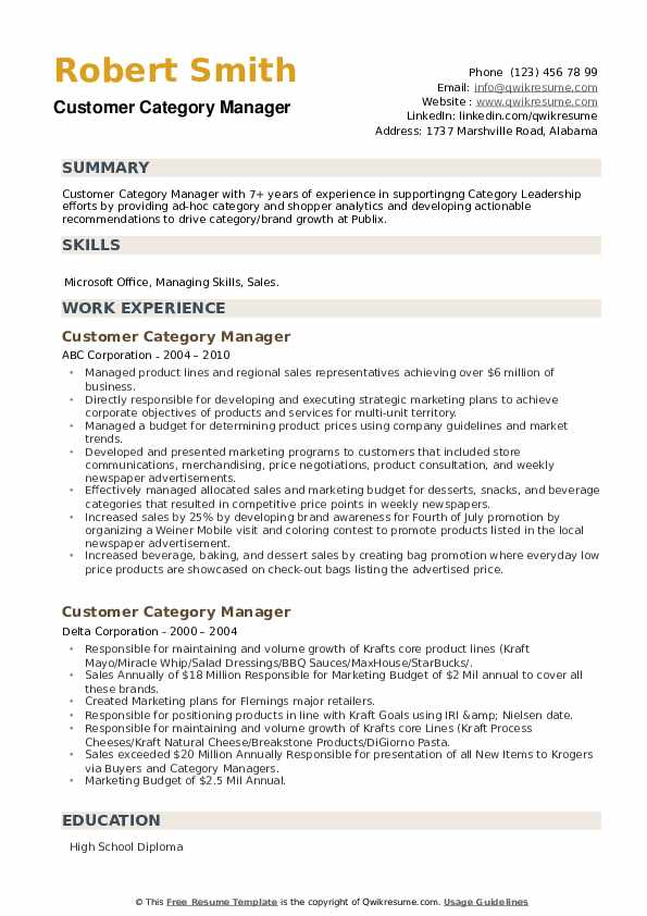 Customer Category Manager Resume example