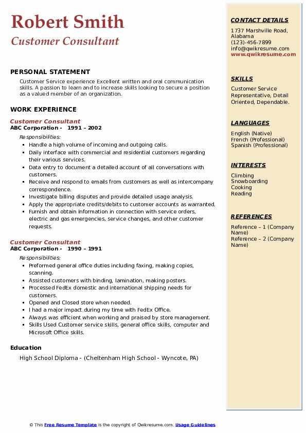 Customer Consultant Resume example