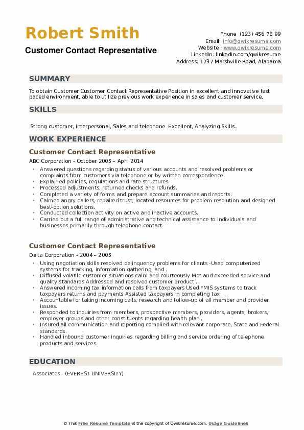 Customer Contact Representative Resume example