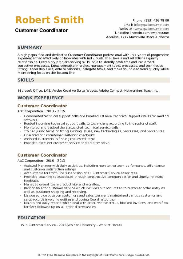Customer Coordinator Resume example