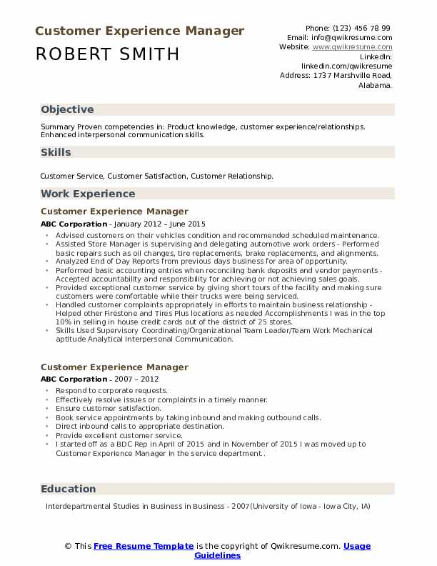 Customer Experience Manager Resume Model