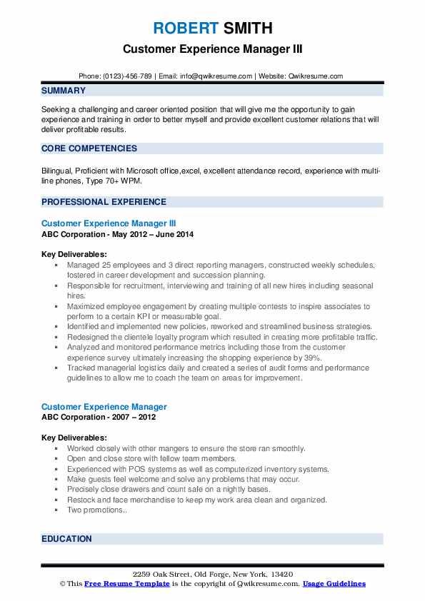 Customer Experience Manager III Resume Sample
