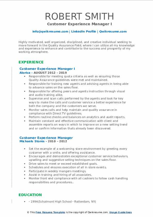 Customer Experience Manager I Resume Sample