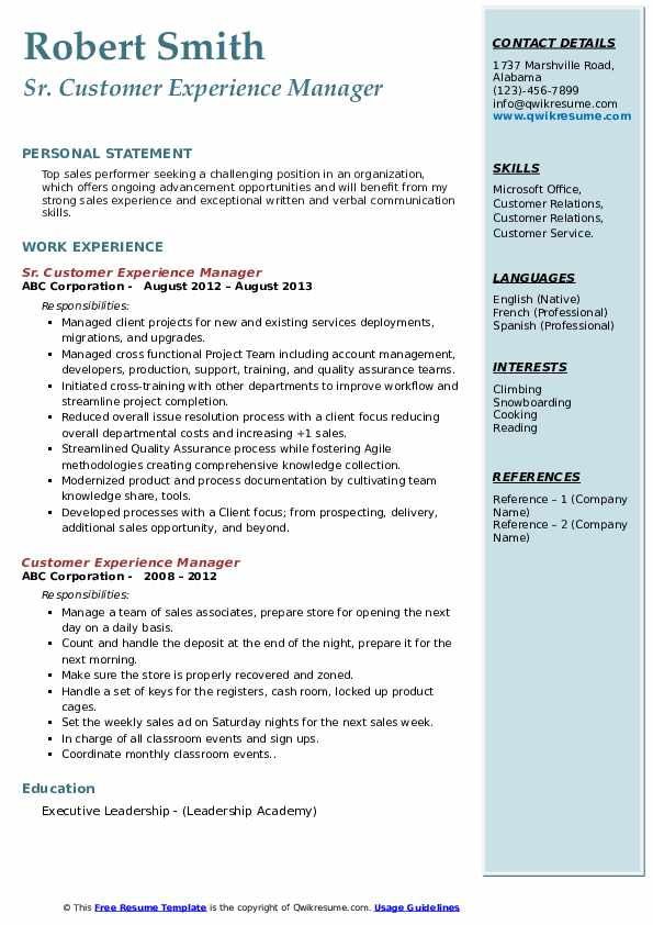 Sr. Customer Experience Manager Resume Template
