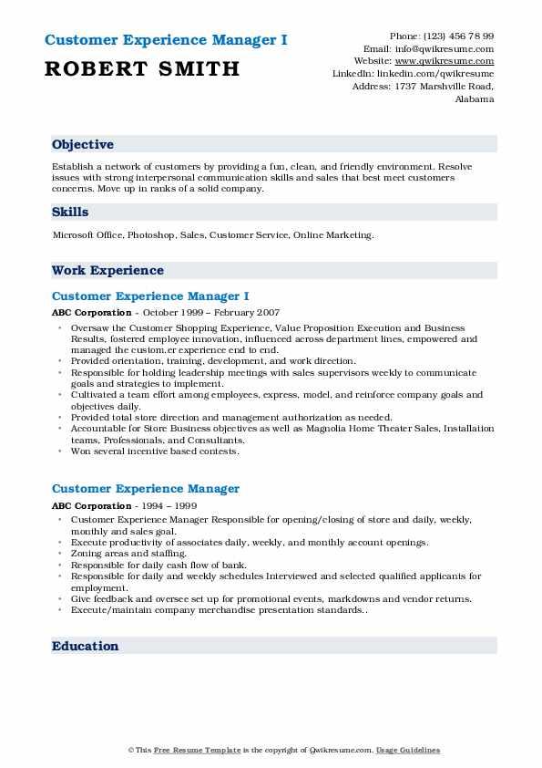 Customer Experience Manager I Resume Model