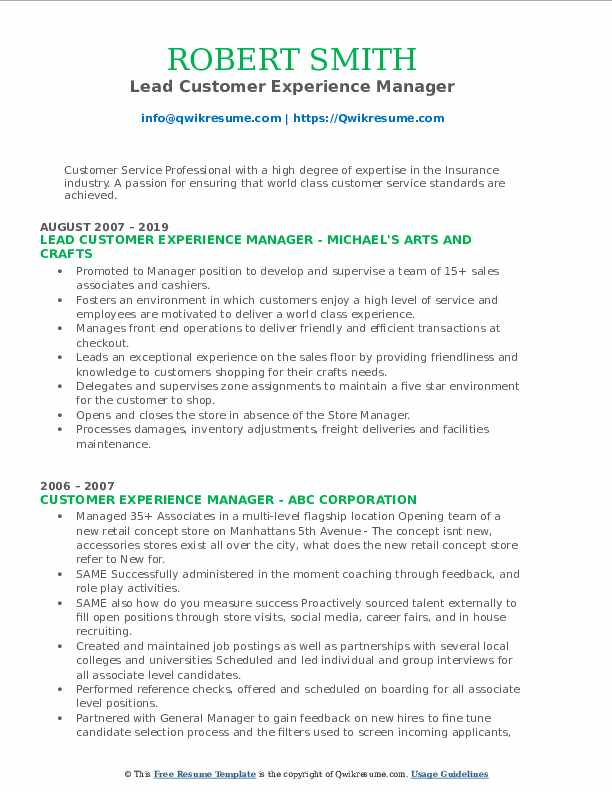 Lead Customer Experience Manager Resume Sample