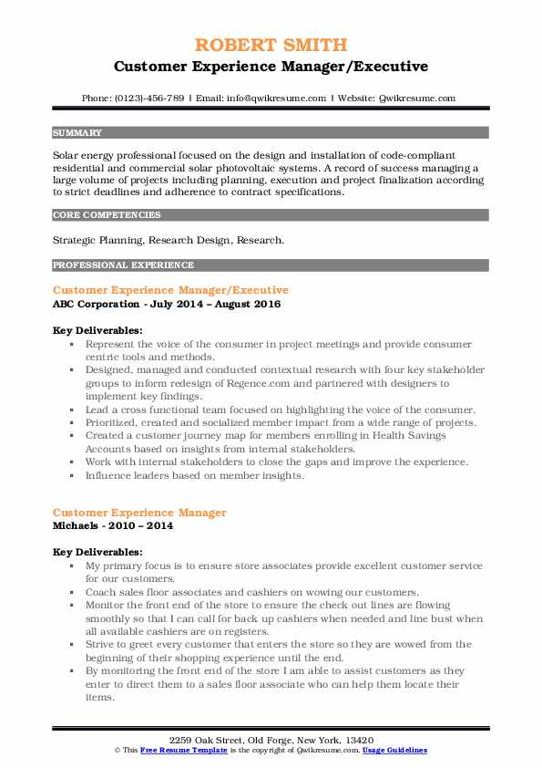 Customer Experience Manager/Executive Resume Example