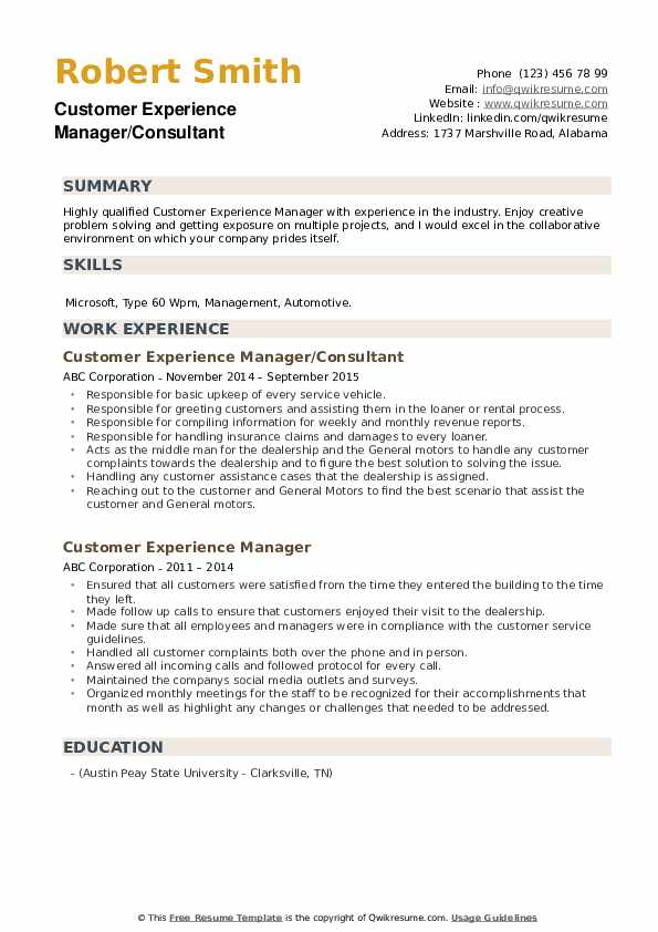 Customer Experience Manager/Consultant Resume Sample