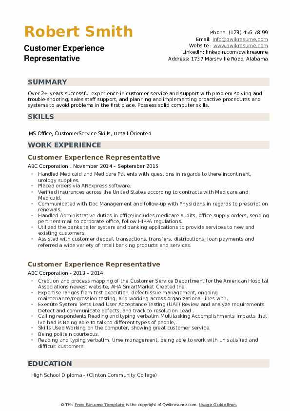 Customer Experience Representative Resume example