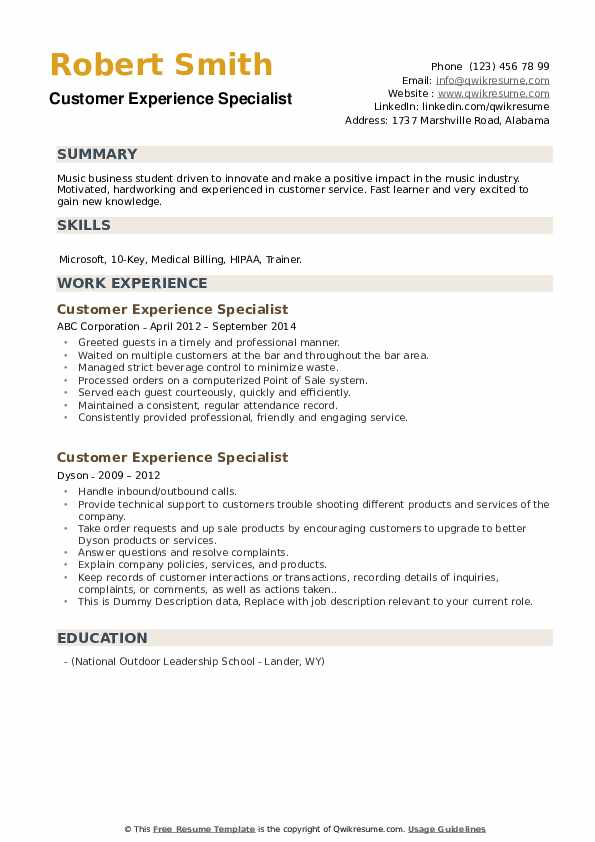 Customer Experience Specialist Resume example