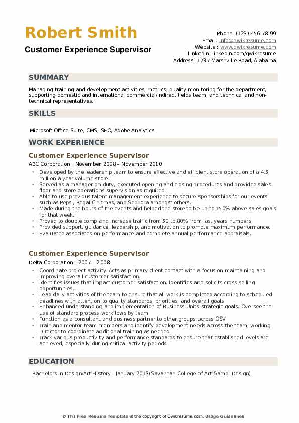 Customer Experience Supervisor Resume example