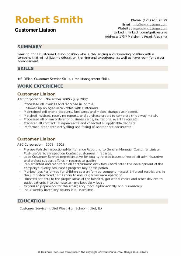 Customer Liaison Resume example