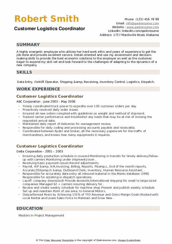 Customer Logistics Coordinator Resume example