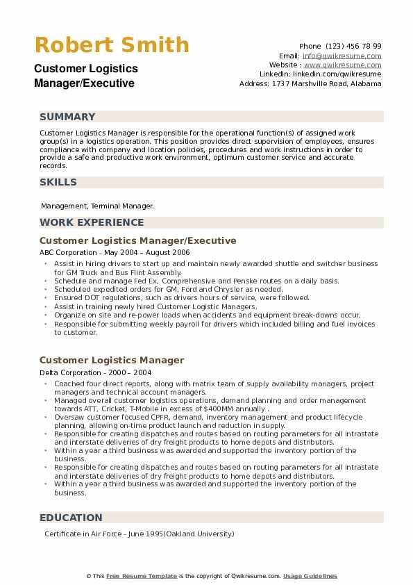 Customer Logistics Manager Resume example