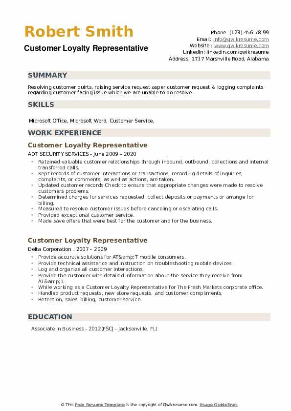 Customer Loyalty Representative Resume example