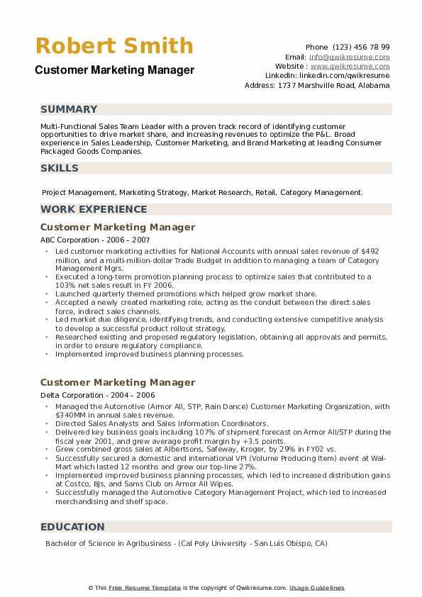 Customer Marketing Manager Resume example