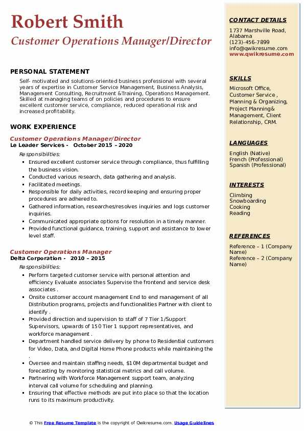 customer operations manager resume samples