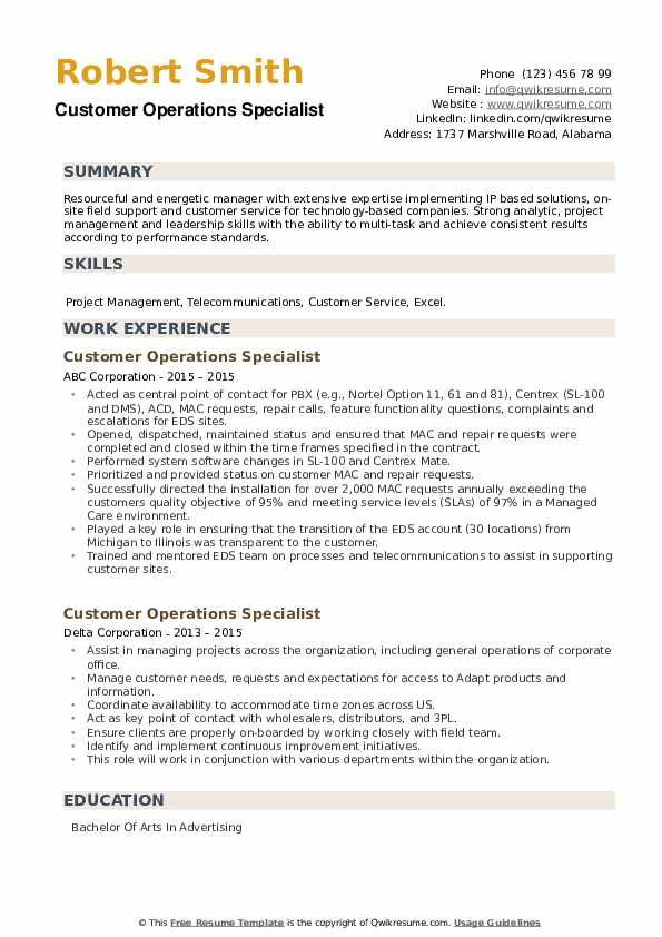 Customer Operations Specialist Resume example