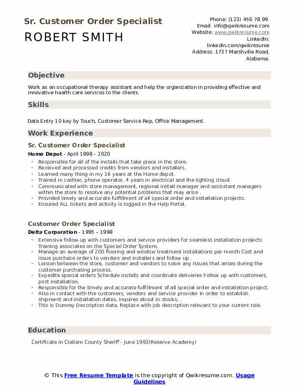 Customer Order Specialist Resume example