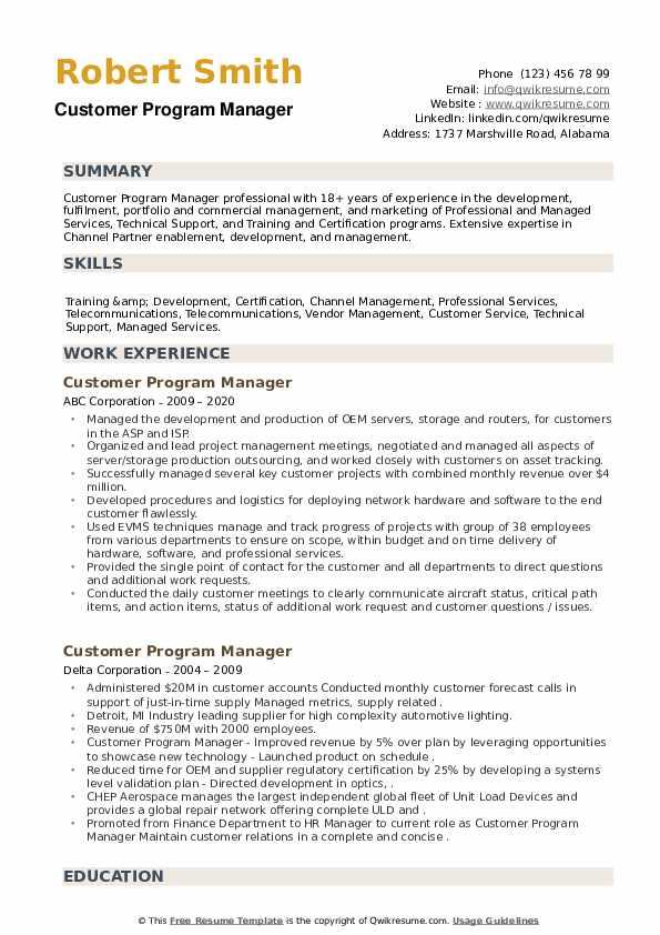 Customer Program Manager Resume example