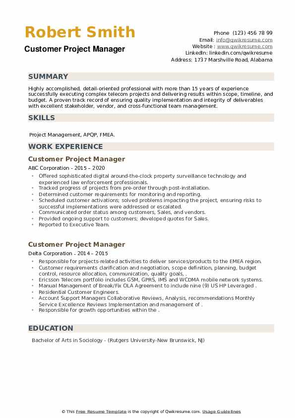 Customer Project Manager Resume example