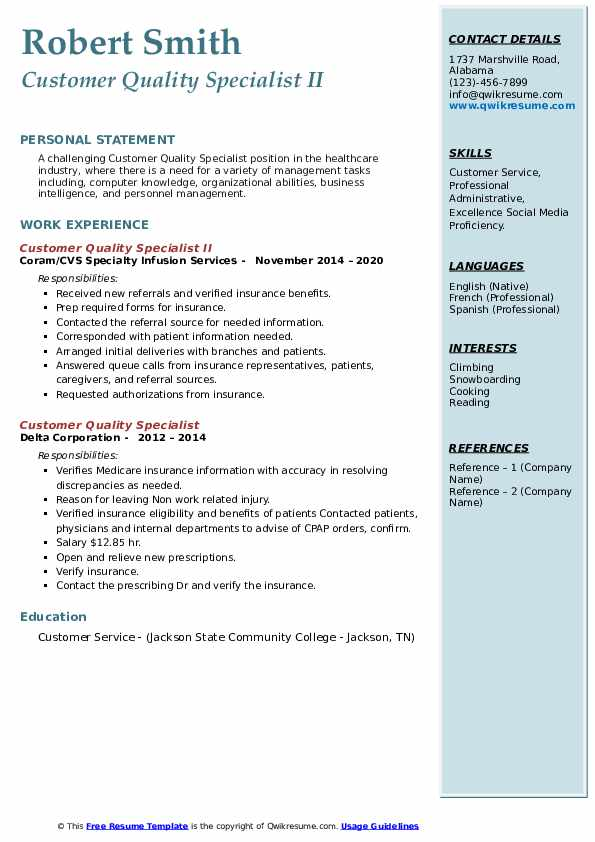Customer Quality Specialist Resume Samples Qwikresume