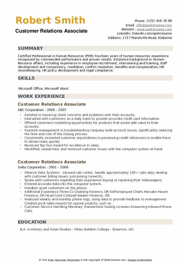 Customer Relations Associate Resume example