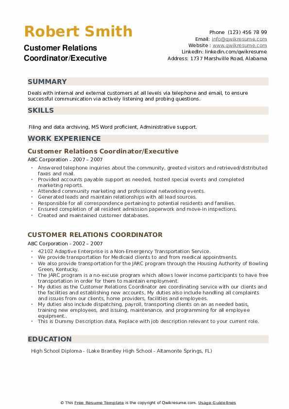 Customer Relations Coordinator Resume example