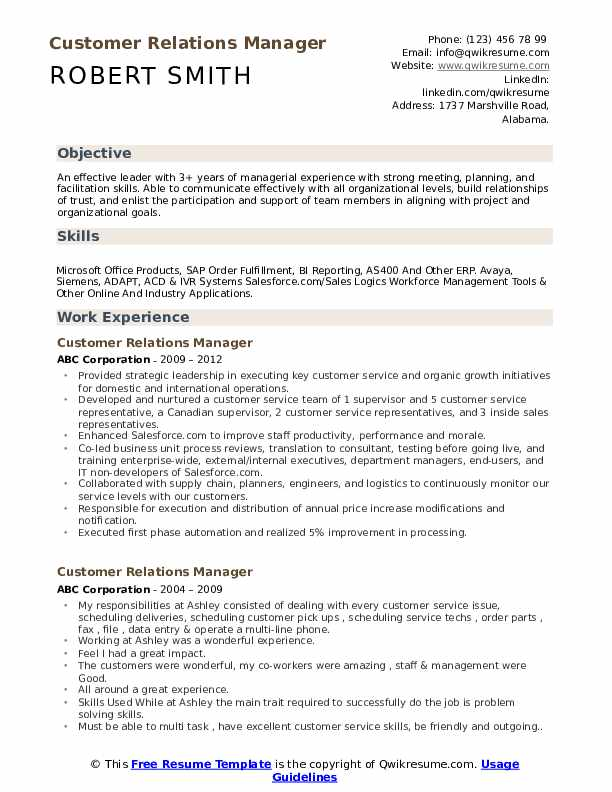 Customer Relations Manager Resume Example