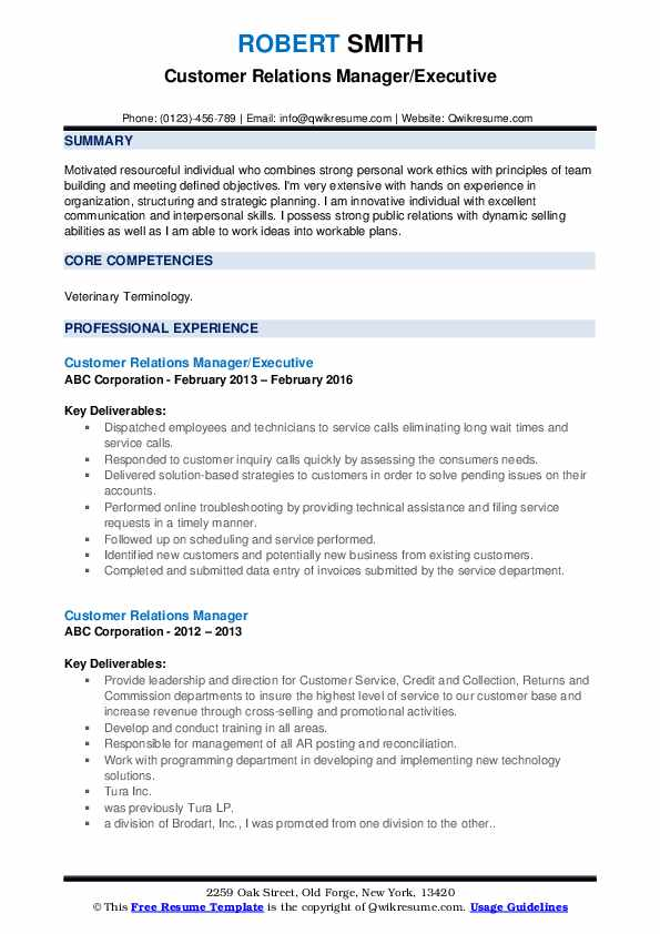 Customer Relations Manager/Executive Resume Sample