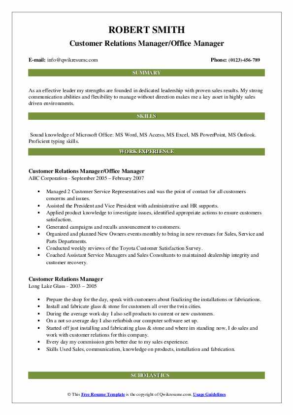 Customer Relations Manager/Office Manager Resume Model