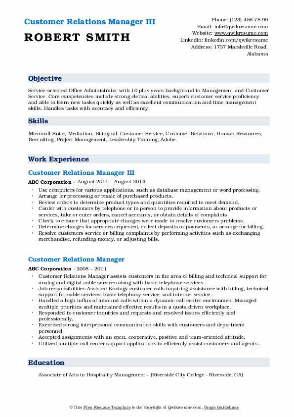 Customer Relations Manager III Resume Example
