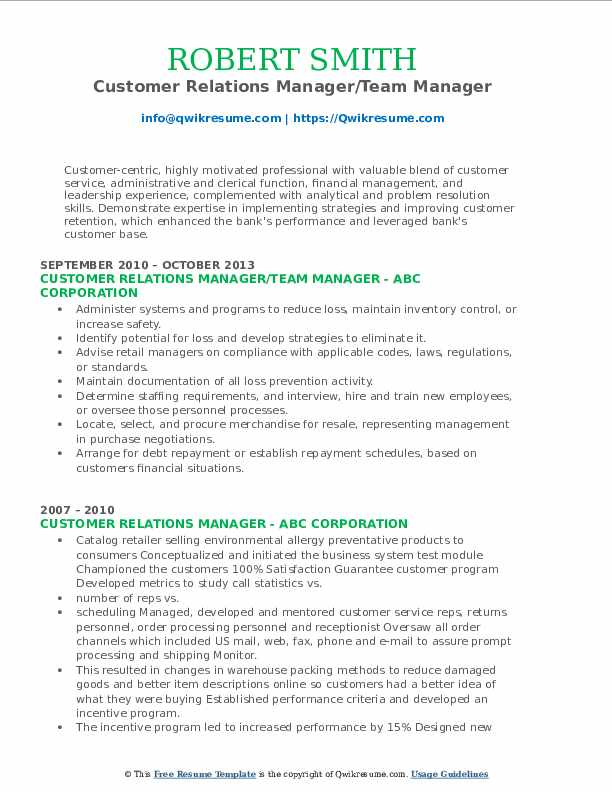 Customer Relations Manager/Team Manager Resume Template