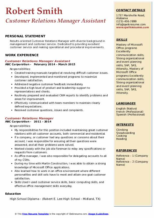 Customer Relations Manager Assistant Resume Model