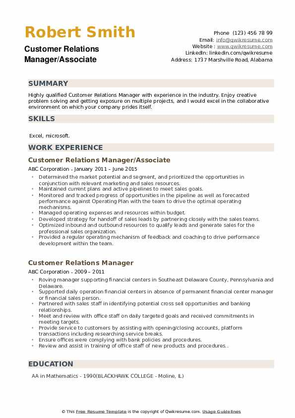 Customer Relations Manager/Associate Resume Template