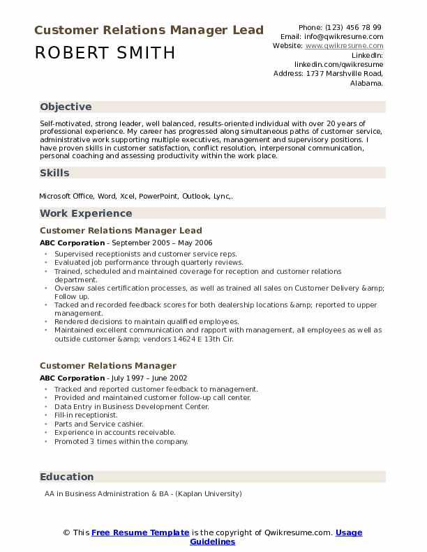 Customer Relations Manager Lead Resume Template