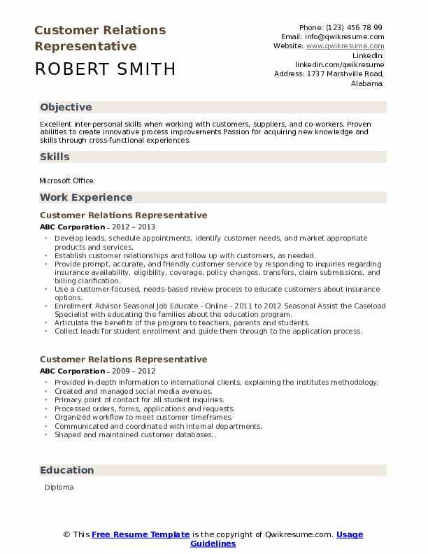 Customer Relations Representative Resume Format