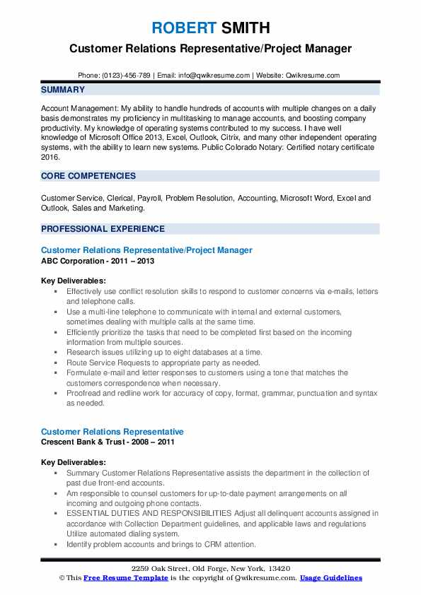 Customer Relations Representative/Project Manager Resume Template