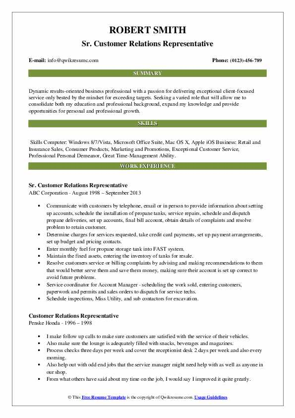 Sr. Customer Relations Representative Resume Format