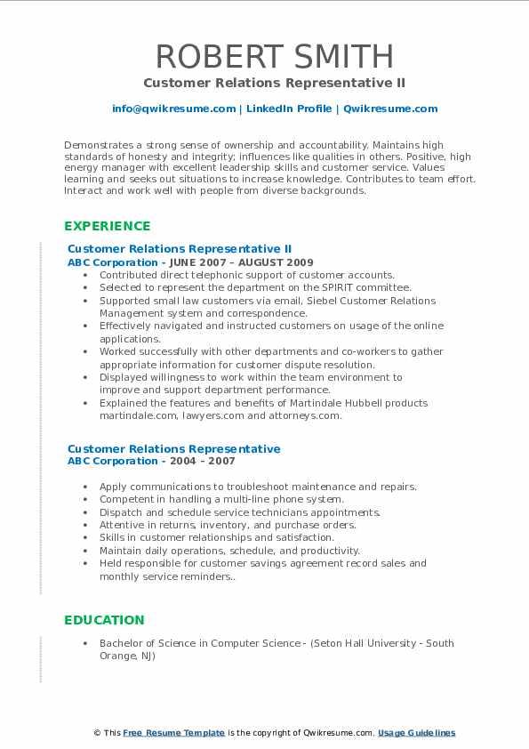 Customer Relations Representative II Resume Format