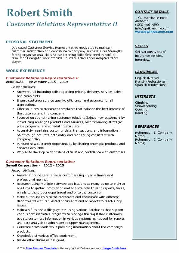 Customer Relations Representative II Resume Model