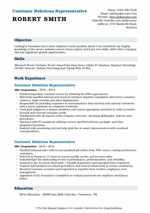 Customer Relations Representative Resume Sample