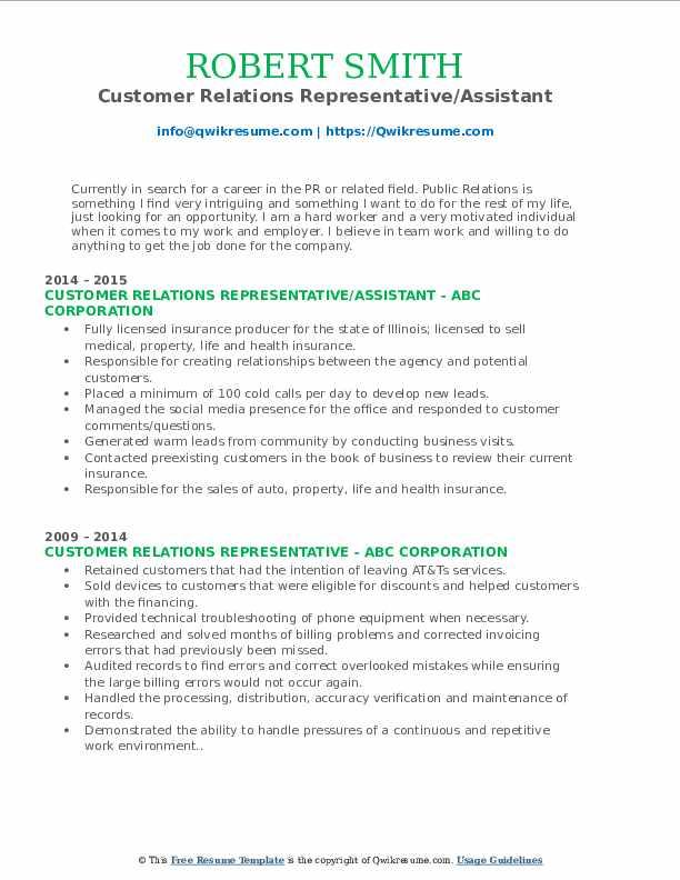 Customer Relations Representative/Assistant Resume Model