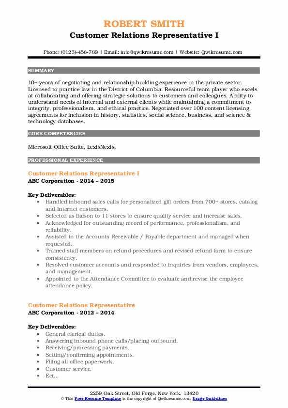Customer Relations Representative I Resume Model