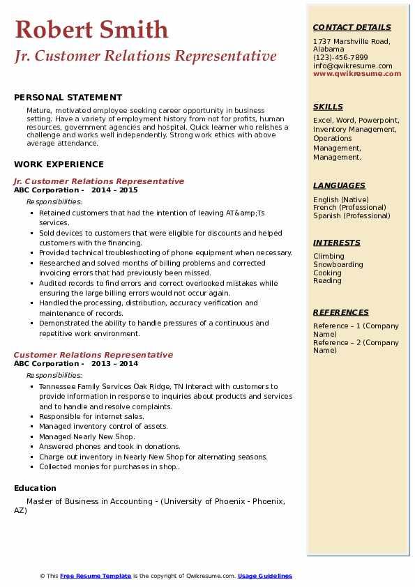 Jr. Customer Relations Representative Resume Format
