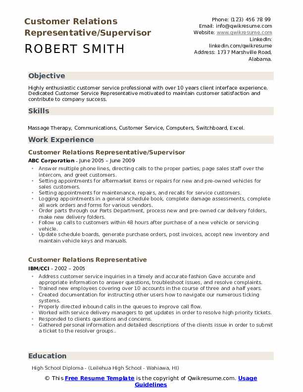 Customer Relations Representative/Supervisor Resume Sample