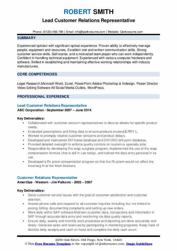 Lead Customer Relations Representative Resume Sample